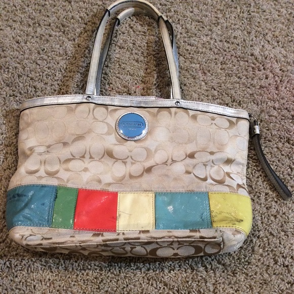 Coach Handbags - Authentic Coach Khaki Signature Multi Color Stripe